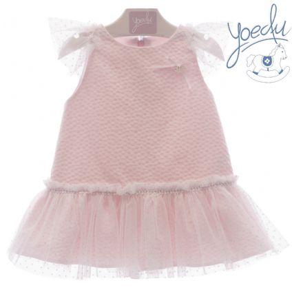 5737f4db50a2 Vestido en color rosa con volante de gasa.Yoedu.